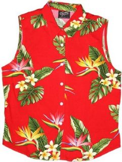 Bird of Paradise Display Women's Fitted Sleeveless Aloha Blouse in Red   1X Plus