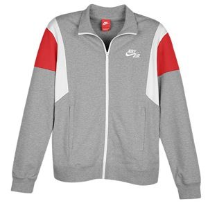 Nike Heritage Air Warm up Jacket   Mens   Casual   Clothing   Dk Grey Heather/University Red/White
