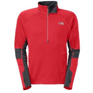 The North Face Momentum Thermal Half Zip Top   Mens   Running   Clothing   Fiery Red/Asphalt Grey