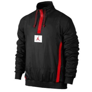 Jordan Retro 4 1989 Half Zip Jacket   Mens   Basketball   Clothing   Black/Fire Red