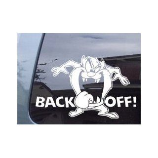 "Tazz Tasmanian Devil ""Back Off"" Looney Tunes Vinyl Decal Sticker Automotive"