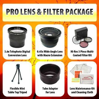 Canon T4i 650D T3i T2i 550d Limited Edition Lens & Filter Set Includes Wide Angle Lens, Macro Lens, 3.6X Telephoto Lens, 3 Piece Filter + Mini Tripod, Lens Cleaning Kit + More, Lenses Will Attach to Any of the Following canon EF S 28 135mm, EF S 18 135