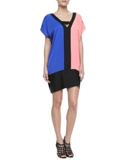 Womens Colorblock Stretch Silk Dress   Milly   Multi colors (SMALL/2 4)