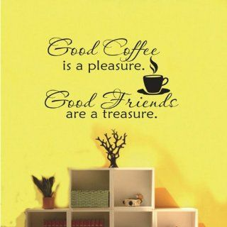TRURENDI Good Coffee Friends Wall Vinyl Sticker Decal Quote Saying Home Room Decor   Childrens Wall Decor