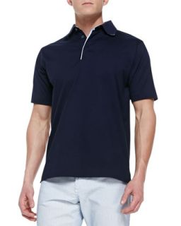 Mens Pique Short Sleeve Polo Shirt, Navy   Ermenegildo Zegna   Navy (XL)