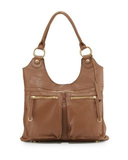 Dylan Front Pocket Leather Tote Bag, Coffee Bean   Linea Pelle