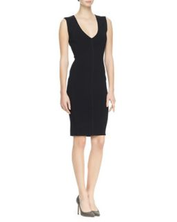 Womens Sleeveless Plunging Sheath Dress, Black   Faith Connexion   Black