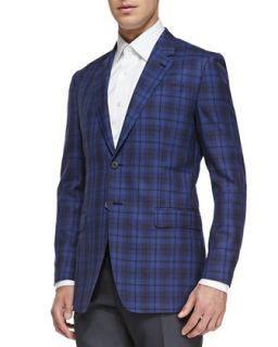 Mens The Byard Plaid Jacket, Bright Blue   Paul Smith   Blue (44L)