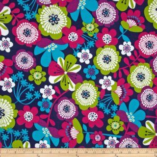 Punch Garden Flannel Large Mod Flowers Bright Blue Fabric By The YD