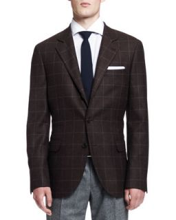 Mens Windowpane Two Button Jacket, Brown   Brunello Cucinelli   Brown (54)