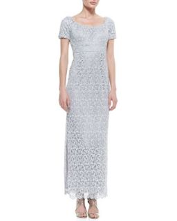 Womens Short Sleeve Lace Column Gown, Silver   Laundry by Shelli Segal