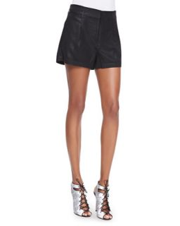 Womens Soft Drapey Twill Relaxed Shorts   7 For All Mankind   Blk drapey twill