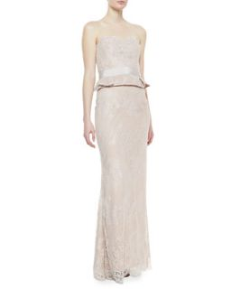Womens Strapless Lace Gown, Blush   Notte by Marchesa   Blush (8)