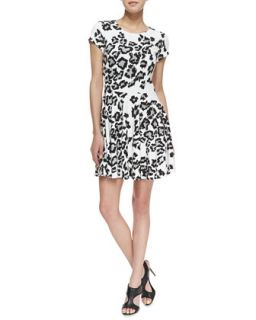 Womens Fawn Siberian Snow Leopard Print Dress, Black/White   Parker   Blk/Wht