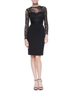 Womens Vinita Long Sleeve Lace Cocktail Dress   Catherine Deane   Black/Black