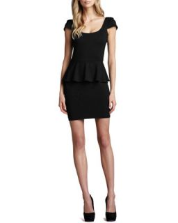 Womens Cap Sleeve Ponte Peplum Dress   Amanda Uprichard Loves Cusp   Black