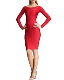 Womens Long Sleeve Bandage Dress   Herve Leger   Lipstick red (SMALL/6)