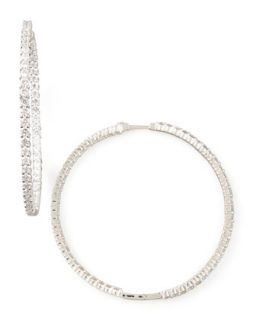 59mm White Gold Diamond Hoop Earrings, 7.55ct   Roberto Coin   White (55ct ,