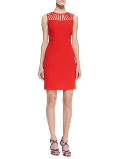 Womens Sleeveless Cutout Neck Dress   Laundry by Shelli Segal   Fiery red (0)