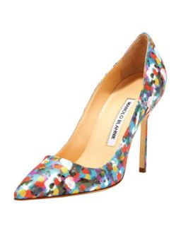 BB Satin 105mm Pump, Gray   Manolo Blahnik   Gray (37.0B/7.0B)