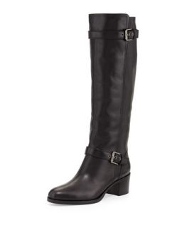 Double Buckled Leather Knee Boot, Black   Gianvito Rossi   Black (41.0B/11.0B)