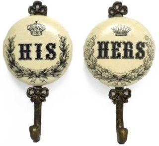 Vintage Style Royal His and Hers Decorative Key or Robe Hooks