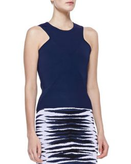 Womens Ribbed Knit Diamond Shell, Indigo   Milly   Indigo (LARGE)
