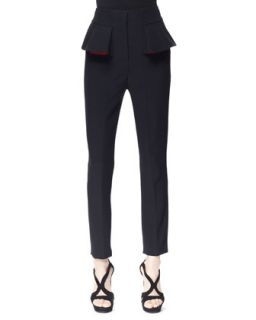 Womens Pleated Peplum Cigarette Pants, Black/Red   Alexander McQueen