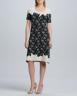 Womens Short Sleeve Lace Print Knit Dress   Kay Unger New York   Ivory/Black