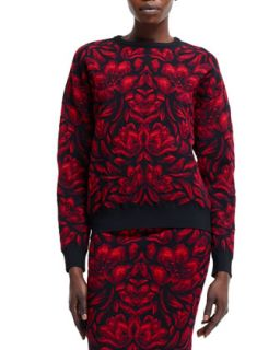 Womens Tulip Jacquard Knit Sweater, Black/Red   Alexander McQueen   Black/Red