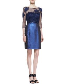 Womens Mesh Embroidered Top Cocktail Dress, Navy   Kay Unger New York   Navy