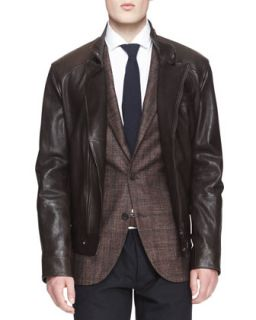 Mens Leather Asymmetric Zip Moto Jacket   Brunello Cucinelli   Brown (L/52)