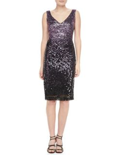 Womens Sequined Sleeveless Sheath Cocktail Dress   David Meister