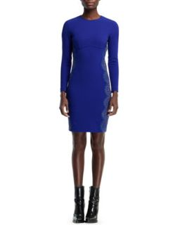 Womens Anne Long Sleeve Sheath Dress, Blue Bird   Stella McCartney   Blue bird