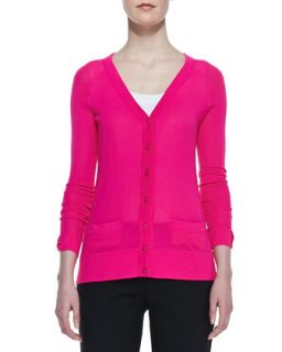 Womens cary v neck cardigan, bougainvillea pink   kate spade new york
