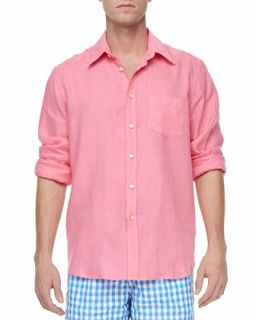 Mens Linen Long Sleeve Shirt, Pink   Vilebrequin   Pink (XX LARGE)