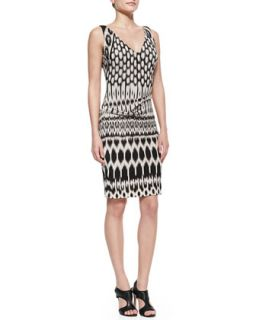 Womens Sleeveless Patterned Sheath Dress   Nicole Miller Artelier