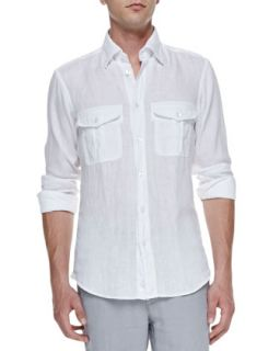 Mens Linen Long Sleeve Shirt, White   Ermenegildo Zegna   White (SMALL)