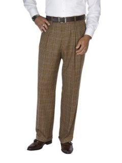 Paul Fredrick Men's Wool Flannel Check Pleated Pants at  Men�s Clothing store Dress Pants
