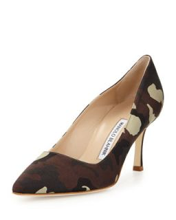 BB Satin 70mm Pump, Camo (Made to Order)   Manolo Blahnik   Camo (36.0B/6.0B)
