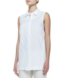 Womens Button Front Sleeveless Blouse   Lafayette 148 New York   White (SMALL)