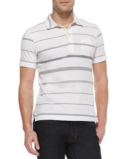 Mens Multi Striped Jersey Polo, White   Billy Reid   White (MEDIUM)