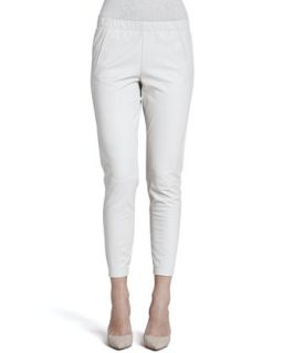 Womens Cropped Leather Pants, Chalk   Vince   Chalk (LARGE)