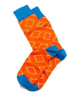 Outlined Diamond Mens Socks, Orange   Arthur George by Robert Kardashian