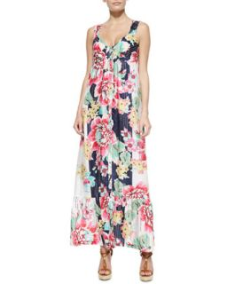 Sleeveless Floral Print Button Front Long Dress, Womens   Johnny Was   Multi a