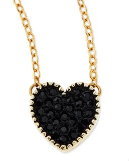 Black Crystal Heart Charm Necklace   Jules Smith   Black