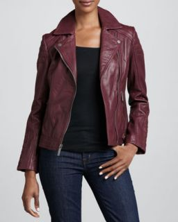 Womens Notched Collar Trapunto Leather Moto Jacket   Plum (SMALL/4 6)
