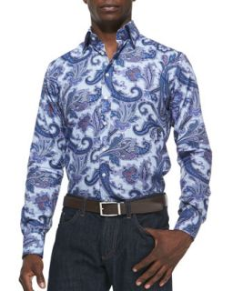 Mens Textured Paisley Sport Shirt, Light Blue   Etro   Light blue (39/15.5)