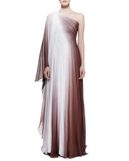 Womens One Shoulder Ombre Gown, Chocolate/White   Monique Lhuillier