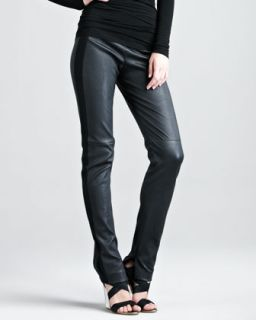 Womens Jersey Stripe Leather Pants   Donna Karan   Black (4)
